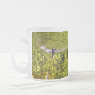 Coot in green water frosted glass coffee mug