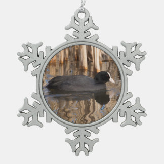 Coot Snowflake Pewter Christmas Ornament