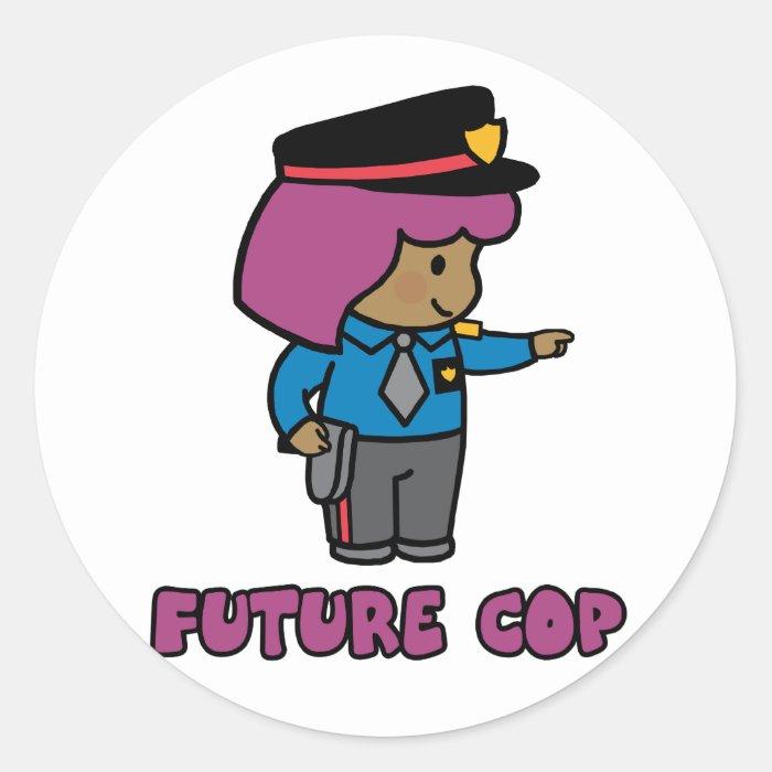 Cop (girl) classic round sticker