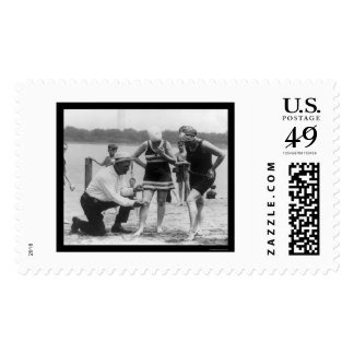 Cop Measuring Swimsuit Length 1922 Stamp