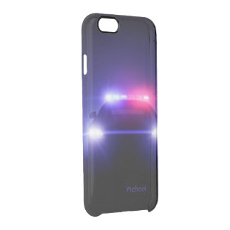 Cop Police Car Full Lights Blinking Clear iPhone 6/6S Case