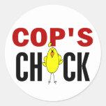 Cop's  Chick Round Sticker