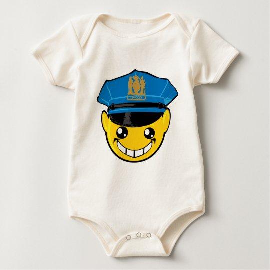cop smiley face baby bodysuit