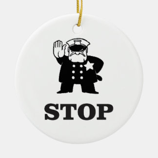 cop stop ceramic ornament