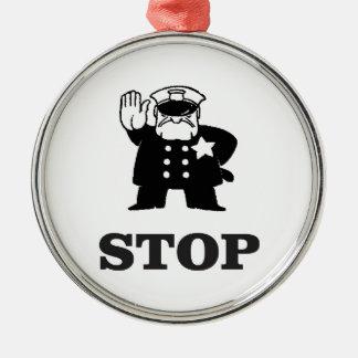 cop stop metal ornament