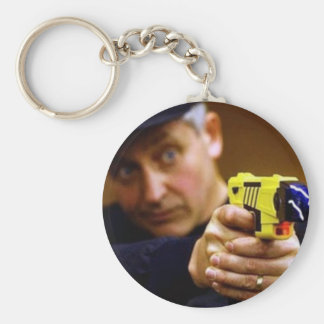 Cop With A Taser Gun Keychains