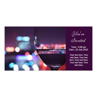 Copa de vino abstracta, le invitan tarjeta personal con foto