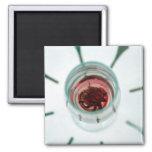 Copa de vino con los pétalos de la flor dentro imán de nevera