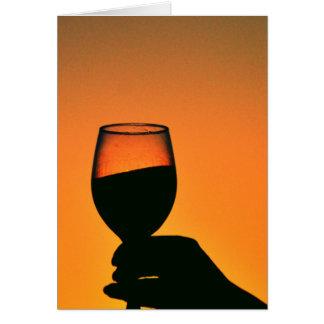 copa de vino de los productos del papel en blanco tarjeta de felicitación