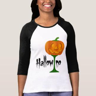 Copa de vino Halloween de la calabaza de Hallowino Playera