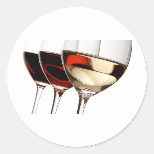 Copa de vino pegatina redonda