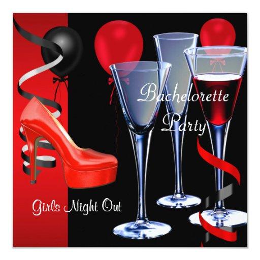Copa de vino roja de los talones del zapato del invitación 13,3 cm x 13,3cm