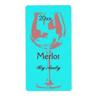 Copa de vino roja - etiqueta de la botella de vino etiqueta de envío