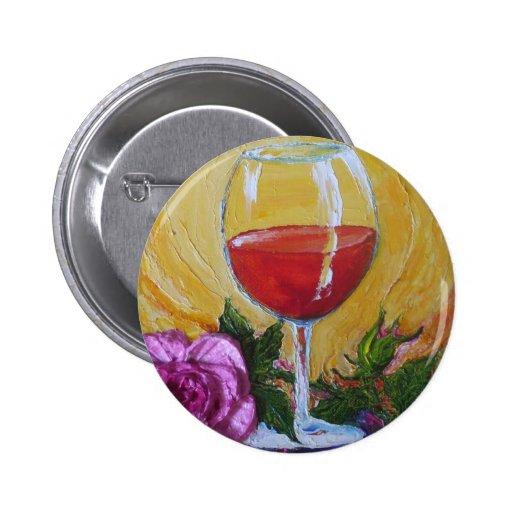 Copa de vino roja y color de rosa rosado pin