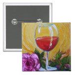 Copa de vino roja y color de rosa rosado pins
