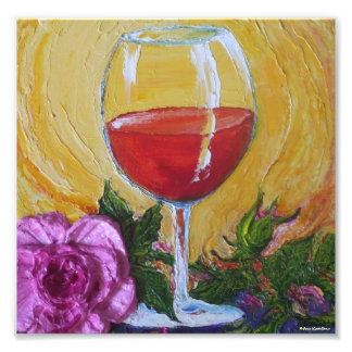 Copa de vino roja y poster color de rosa rosado de cojinete