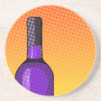 copa de vino y botella cómicas de semitono posavasos para bebidas