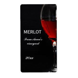 Copa de vino y botella rojas etiqueta de envío