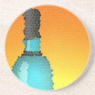 copa de vino y botella: vitral posavasos personalizados