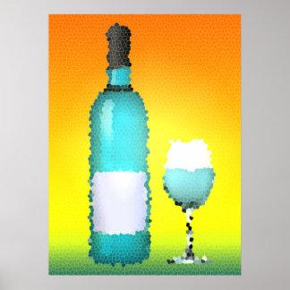 copa de vino y botella: vitral póster