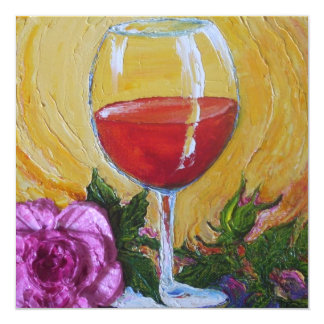 Copa de vino y invitación color de rosa rosada del