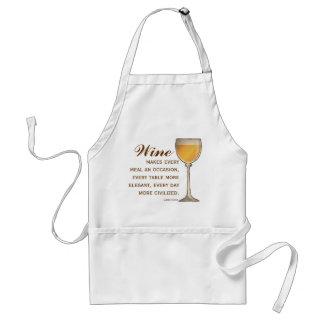 Copa elegante del amante del vino de blanco con ci delantal