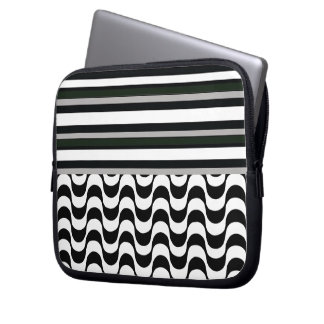 Copacabana sidewalk and stripes laptop sleeve