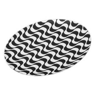 Copacabana sidewalk waves design dish dinner plates