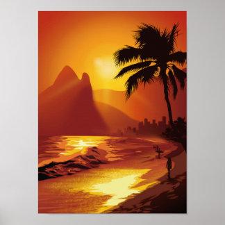 Copacabana Tropical Beach Poster