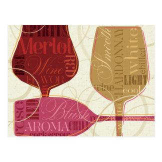 Copas de vino coloridas postal