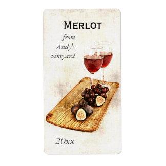 copas de vino con el pegatina de la botella del vi etiquetas de envío