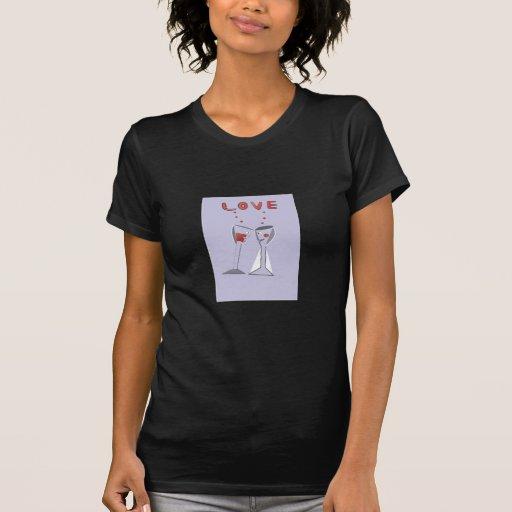 Copas de vino del amor camisetas