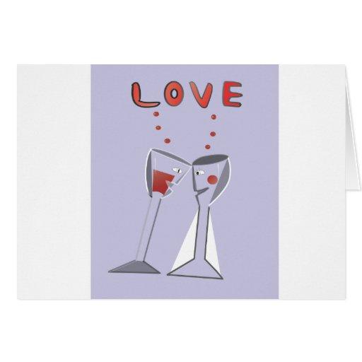 Copas de vino del amor tarjeta