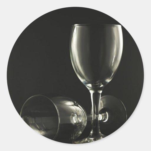 Copas de vino pegatina redonda