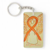 COPD Angel Orange Awareness Ribbon Keychain