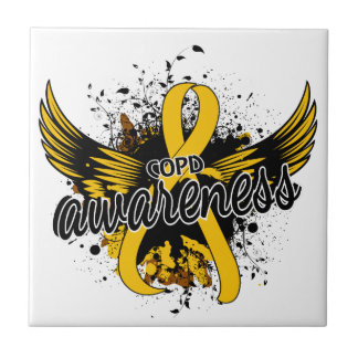COPD Awareness 16 (Gold) Small Square Tile