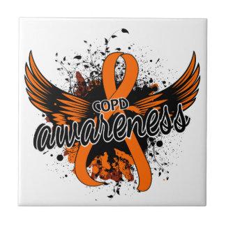 COPD Awareness 16 (Orange) Small Square Tile