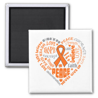 COPD Awareness Heart Words (orange) 2 Inch Square Magnet