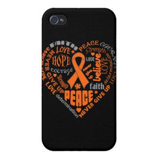 COPD Awareness Heart Words (orange) iPhone 4 Cover