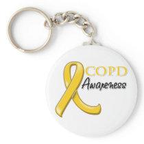 COPD Awareness Ribbon (gold ribbon) Keychain