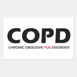 COPD - Chronic Obsessive Pug Disorder Rectangular Stickers
