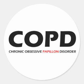 COPD - Desorden obsesivo crónico de Papillon Pegatina Redonda