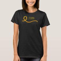COPD Gold Beaded Awareness Ribbon T-Shirt