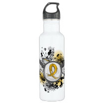 COPD Grunge Ribbon and Wings Water Bottle