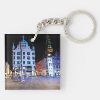Copenhagen City Hall Square at Night Keychain