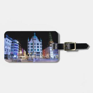 Copenhagen City Hall Square at Night Luggage Tag
