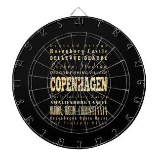 Copenhagen City of Denmark Typography Art Dartboard With Darts