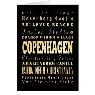 Copenhagen City of Denmark Typography Art Greeting Card