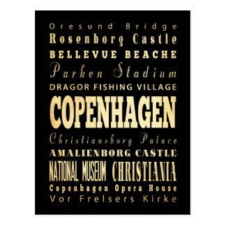 Copenhagen City of Denmark Typography Art Postcard