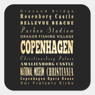 Copenhagen City of Denmark Typography Art Sticker